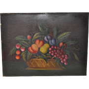 "Early 20th Century Americana ""Fruit Basket"" Still Life Oil Painting c.1920"