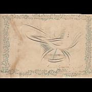 Primitive American Folk Art Fraktur w/ Dove c.1880