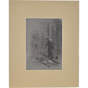 Granville Seymour Redmond (California, 1871-1935) Darkened Street in Graphite c.1920s