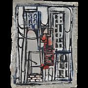 Eloise Pickard Smith (1921-1995) Abstract Bridge Watercolor c.1959