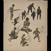James March Phillips (California, 1913-1981) Korean War Illustration c.1950s
