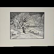 "Eloise Howard (American, 1889-1985) ""Opening the Road"" Original Woodcut Print c.1936"