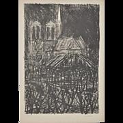 Notre-Dame de Paris Lithograph by Maurice Verdier c.1950