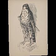 "Alois Carigiet ""Hawk"" Limited Edition Lithograph c.1949"