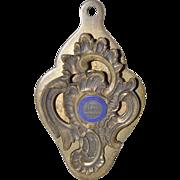 Dorchester Mutual Fire Insurance Co. Brass & Enamel Door Clip c.1920