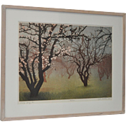 """Stephen McMillan """"Early Spring #2"""" Drypoint Etching with Aquatint c.1988"""