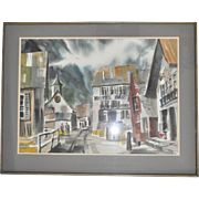 "Jack Laycox Watercolor ""Swiss Village"" c.1965"