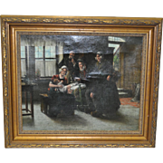 """19th Century Oil Painting """"Grandfathers Present"""""""