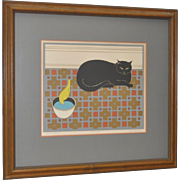 """Will Barnet """"Cat and Canary"""" Pencil Signed Lithograph"""