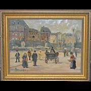 Louis van der Pol (1861-1933) Original European Street Scene c.1920