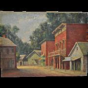 Roy Harrison (Pulp Artist 1913-1961) Original Western Town Oil Painting c.1940