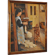 Spinning Wool Oil Painting by Olaf Palm