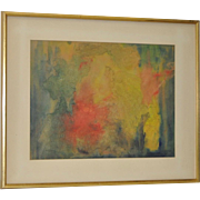 Mid Century Modern Mixed Media Abstract Painting c.1965