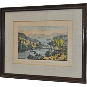 "Currier & Ives ""The Bridge, At The Outlet"" 19th Century Lithograph"