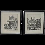 Pair of Vintage Roman Architecture Etchings by G.B. Mirri c.1960s