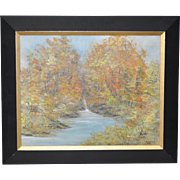 River Landscape Oil Painting by Sakamoto c.1970s