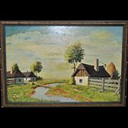 Vintage Country Farm Landscape Oil Painting by Garam c.1975