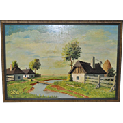 Vintage Country Farm Landscape Oil Painting by Garam c.1975