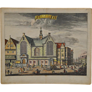 "Rare 17th to 18th Century Color Engraving ""St. Olof"" Amsterdam"