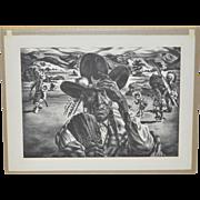 """Charles Banks Wilson """"Comanche Portrait"""" Pencil Signed Lithograph c.1940"""
