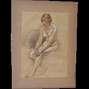 Theophile Alexandre Steinlen Chalk Figural Nude c.1920