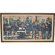 """Mid Century Modern Cityscape Abstract """"Ferry Boat #4"""" Oil Painting c.1950s"""