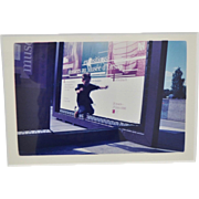 Vintage Color Photograph Child Jumping in Front of French Museum Poster c.1990s