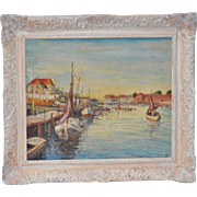 Vintage Oil Painting of Boats in the Harbor c.1950
