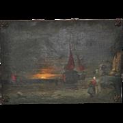 Antique Dutch Landscape Oil Painting