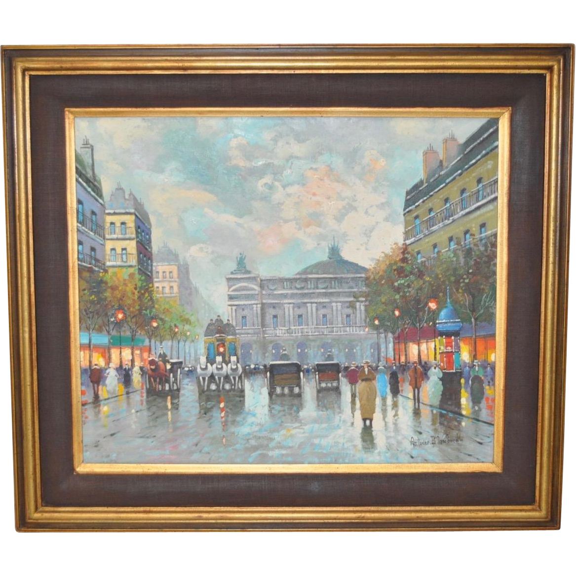Parisian Street Scene Oil Painting From Antique Canvas On