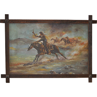 "Vintage Cowboy Painting ""The Chase is On"" by William Steiner"