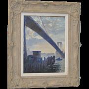 """George Sepp (1884-1958) """"Williamsburg Bridge"""" Original Oil Painting c.1930s"""