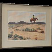 "John B. Munroe ""Desert Tranquility"" Watercolor c.1960s"