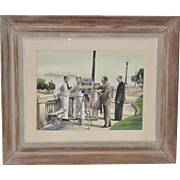 "Louis Kaep (1903-1991) ""Naples, Italy With the 6th Fleet"" Original Watercolor c.1950s"