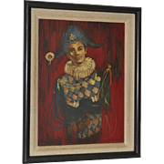 """Mid Century """"Young Harlequin"""" Oil Painting c.1950s"""