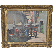 Vintage European Village Oil Painting c.1920s to 1930s