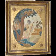 Late 18th Century English Silk Embroidery of Shepherdess Writing on Tree w/ Flock