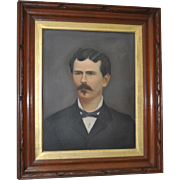 19th Century Oil Portrait of a Mustached Man
