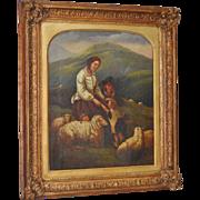 """19th Century """"Shepherd Family"""" Original Oil Painting"""