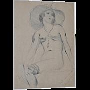 Granville Seymour Redmond Original Figural Nude w/ Wide Brim Hat & Rosary c.1929