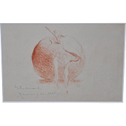 "Granville Redmond ""Adam and Eve"" Original Red Chalk Drawing c.1935"