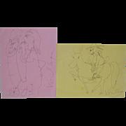 Peter Voulkos (1924-2002) Original Pen & Ink Drawings
