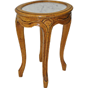 Petite French Carved Fruitwood Side Table w/ Marble Top c.1940s