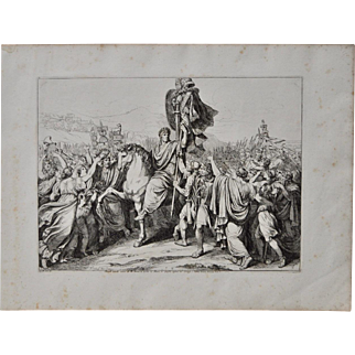 """Bartolomeo Pinelli """"Romulus Returns to Rome w/ the Remains of King Acre"""" c.1817"""