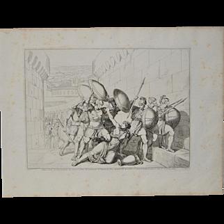 "Bartolomeo Pinelli Engraving ""Killed in Betrayal"" c. 1818"