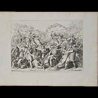 "Bartolomeo Pinelli Engraving ""Courageous Women"" c. 1818"