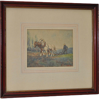 Impressionist Watercolor by W. Goode c.1920s