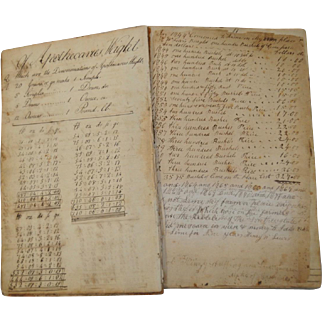 Early Americana Hand Written Book on Arithmetic by Allen Lewis c.1792