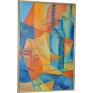 Mid Modern Cubist Still Life Oil Painting by N. Brewer c.1960