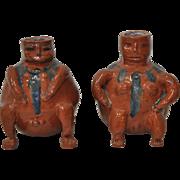 Pair of Glazed Terracotta Figures c.1940s